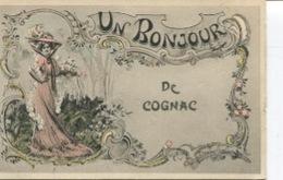 CPA  - Cognac  - Un Bonjour De Cognac - Art Nouveau - Edition GP   - Circulée  - - Cognac