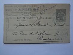 FRANCE 1892 CART-TELEGRAMME TUBES PNEUMATIQUES Rue Ecluses St. Martin Paris - Biglietto Postale