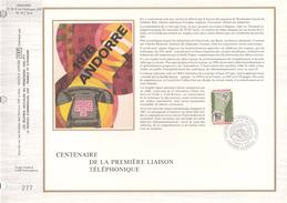 Ltd Edition CEF ANDORRA Stamps SILK FDC (card) TELEPHONE Cover Telecom - Telecom
