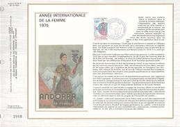 Ltd Edition CEF ANDORRA Stamps SILK FDC (card) INTERNATIONAL WOMEN YEAR  Cover Un United Nations - UNO