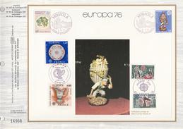 1975 Ltd Edition CEF  Stamps SILK FDC (card)  EUROPA Cover  MONACO FRANCE  ANDORRA Art - Europa-CEPT