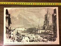 GRAVURE 1860 INAUGURATION DE LA STATUE DE NOTRE DAME DES DOMS SUR LA TOUR DE LA METROPOLE D AVIGNON - Collections