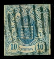 Luxembourg - 1861 - 10c Wapen Blue, Used, Short - 1859-1880 Wapenschild