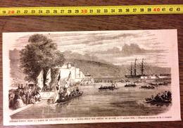 GRAVURE 1860 DEBARQUEMENT DANS LA DARSE DE VILLAFRANCA IMPERATRICE DOUAIRIERE DE RUSSIE DE GUIAUD - Vieux Papiers