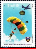 Ref. BR-2548 BRAZIL 1995 SPORTS, PARASHUTE BRIGADE, PLANE,, PARACHUTIST, MI# 2659, MNH 1V Sc# 2548