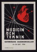 HEART Medicine Exposition - 1954 Sweden - Ostermans Marmorhallar - Trade Fair - LABEL / CINDERELLA / VIGNETTE - MH - Medicina