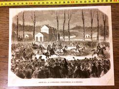 GRAVURE 1860 ARRIVEE DE L IMPERATRICE ET L EMPEREUR A FONTAINEBLEAU - Vieux Papiers