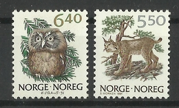 NORWAY  1991  NORWEGIAN FAUNA,BOREAL OWL,LYNX  2V  MNH - Ohne Zuordnung