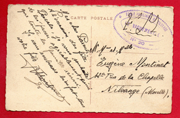 Franchise Militaire. Cachet De L'Ecole Auxiliaire De Pilotage N. 20 - Carcassonne Sur CP Carcassonne Château Comtal. - Marcophilie (Lettres)