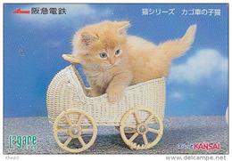 Carte Prépayée Japon - ANIMAL - CHAT & Landau - CAT Japan Prepaid Card - KATZE Lagare Karte - GATO - KAT -  3763 - Gatos