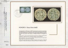 Ltd Edition CEF MONACO Stamps SILK FDC (card) COINS 1640 DEUX CROS Cover Coin - Monete