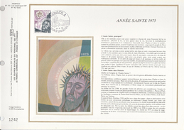 1975 Ltd Edition CEF MONACO Stamps SILK FDC (card) HOLY YEAR Cover Religion Christianity - Christianity