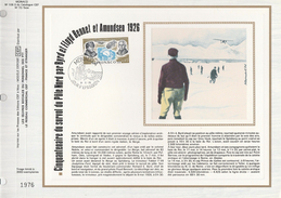 Ltd Edition CEF MONACO Stamps SILK FDC (card) NORTH POLE , AMUNDSEN , BYRD, AIRCRAFT AIRSHIP Cover Polar Arctic Aviation - Polar Exploradores Y Celebridades
