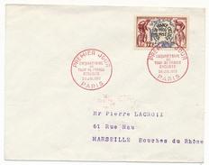 FRANCE => Env Scotem - 12F Tour De France Cycliste - Oblitération En Rouge - Paris 26 Juillet 1953 - 1950-1959
