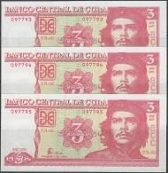2004-BK-3 CUBA. 3$ ERNESTO CHE GUEVARA. 2004 UNC. 3 CONSECUTIVOS - Cuba
