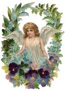 ANGE ENFANT Dans Un MEDAILLON FLEURI De Pensées Grand Format 18 Cm Gaufré - Anges