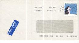 Francia Busta Viaggiata Francia Italia 2013 Con Bolli 2013+Priority See Scan - 1961-....