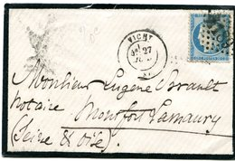 ALLIER De VICHY GC 4189 Sur N°37 Sur Env. Du 27/07/1871 - 1849-1876: Classic Period