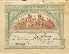 Carte De Membre Bienfaiteur De LAssistance Mutuelle - Presidée Pat L. LOUSTALOT Attribuée à Mr Gaillard - Vieux Papiers