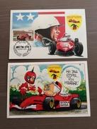 Coppia Di Cartoline Ufficiali  Club Delle Rosse Vignola Annullo Omaggio A...Phil Hill Vignola (MO) 19-4-2003 - Grand Prix / F1