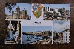 ALGERIE, ALGER, MULTI-VUES, NOTRE DAME D'AFRIQUE, PLACE DU GOUVERNEMENT, VIEILLE RUE, LA POSTE, RUE D'ISLY, LE PORT 1961 - Alger