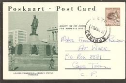 South Africa. Illustrated Postcard. Kruger Statue Pretoria 1961 - Covers & Documents