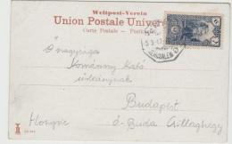Jud034 / PALÄSTINA -  Türkische Post Jerusalem 1917 Auf Ansichtskarte Nach Ungarn - Palästina