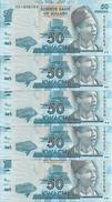 MALAWI 50 KWACHA 2012 UNC P 58 ( 5 Billets ) - Malawi