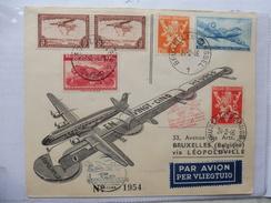 Lettre Sabena Bruxelles Léopoldville 1946   5 Oblitérations Au Dos De La Lettre - 1947-60: Briefe U. Dokumente