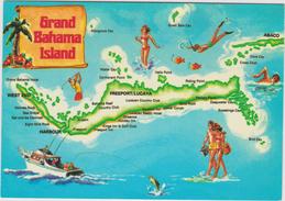 Amérique:  Bahamas , Grand  Bahama  Island  , Carte  Géographique - Cartes Postales