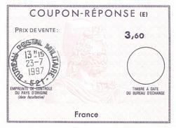France 1997 Reply Coupon Reponse (E) Type XII IRC IAS 3,60 Bureau Postal Militaire 521 Stetten (Allemagne) - Documenten Van De Post