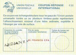 Cote D'Ivoire Ivory Coast Elfenbeinkuste Abidjan RP Reply Coupon Reponse Type C22 IRC IAS 55 FCFA - Ivoorkust (1960-...)