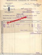 75- PARIS - FACTURE SAM BERAHA- MANUFACTURE PARISIENNE DE CRAVATES- 71 RUE MAUBEUGE-1933  CRAVATE - France