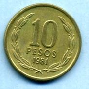 1981  10 PESOS - Chili