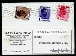 A4430) Rumänien Romania Karte Mit 3-Farbenfrankatur Von Timisoara 15.2.37 Nach Wien - 1918-1948 Ferdinand, Carol II. & Mihai I.