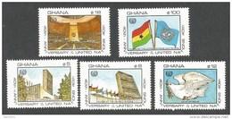 Ghana 1985 UN Headquarters New York Flags Michel 1112-6 MNH Mint Set - Ghana (1957-...)