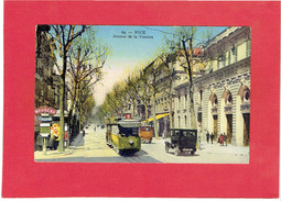 NICE AVENUE DE LA VICTOIRE TRAMWAY BANQUE SOCIETE GENERALE CARTE EN TRES BON ETAT - Monuments