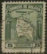 BOLIVIA 1935 Airmail - Map Of Bolivia With Airplane. USADO - USED. - Bolivia
