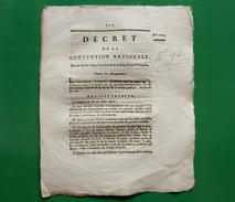 D-FR Révolution 1793 Décret De La Convention National Contre Les Accapareurs - Documents Historiques