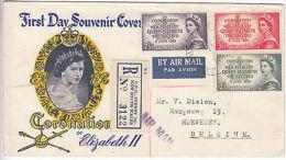 Australia: Registered FDC, Coronation Of Elizabeth II, GPO Sydney-Belgium, 1953 - FDC
