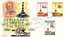 PEROU  COVER - FDC 2 MAI 1966 -JOSE GALVEZ CENTENARIO COMBATE 2 DE MAYO 1866 1966 - - Perú