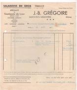 69 SAINTE FOY L' Argentiere STE FACTURE 1935 Salaisons SAUCISSONS DE Lyon J.B. Gregoire  - Y79 - France