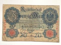 Billete Alemania. 20 M. 1914. - 20 Mark