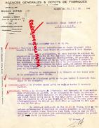 ALGERIE - ALGER -FACTURE MAISON DIPAS - AGENCES DEPOTS DE FABRIQUES- 6 PLACE DE CHARTRES-1928 - Factures & Documents Commerciaux
