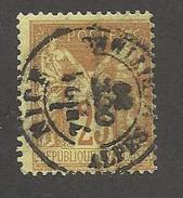 FRANCE - N°YT 92 CAD NICE DU 21/10/1880 ET PIQUAGE SUR FILET EST - COTE YT : 5€ - - 1876-1898 Sage (Type II)