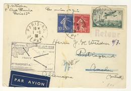 (P66) - Y&T N°PA 14 +278B+279 - CARTE PARIS=> ALLEMAGNE 1938 - 1ER TRANSPORT AERIEN DE COURRIER SANS SURTAXE - France