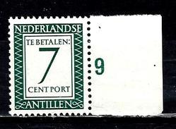 ANTILLES NEERLANDAISES T45** 7c Vert-bleu Timbres Taxes - Antillen