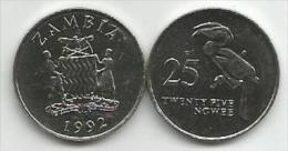 Zambia  25  Ngwee 1992. UNC - Zambia