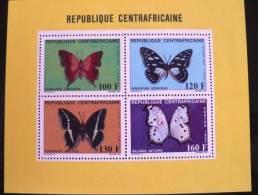 CENTRAFRIQUE Papillons/butterflies/ Mariposas 1987  BLOC COLLECTIF 4 VALEURS. Mnh, ** - Timbres