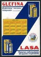 *Glefina - Lasa. Laboratorios Andromaco* Año 1932. Meds: 131 X 180 Mms. - Papel Secante